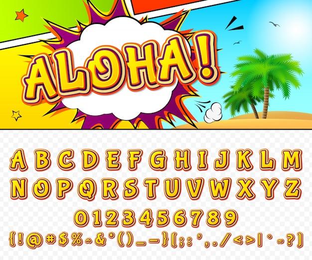 Czcionka komiczna. alfabet kreskówka w stylu pop-artu.