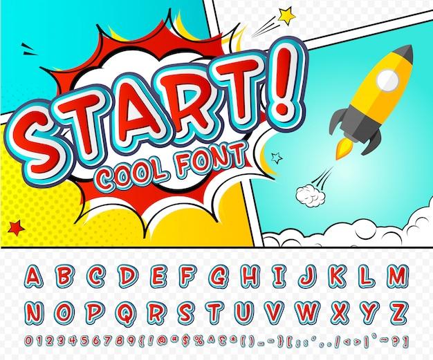 Czcionka komiczna. czerwono-niebieski alfabet w stylu komiksów, pop-artu. wielowarstwowe litery i cyfry z kreskówek