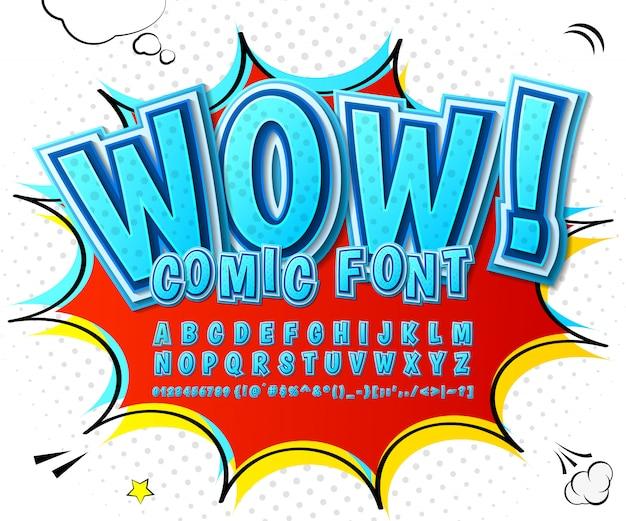 Czcionka komiksów kreskówek. niebieski alfabet w stylu komiksów, pop-artu. wielowarstwowe litery i cyfry 3d