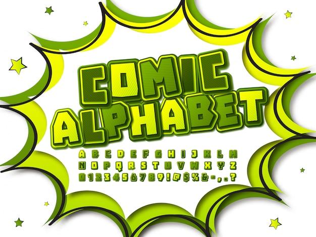 Czcionka komiksu. alfabet kreskówka w stylu pop-art