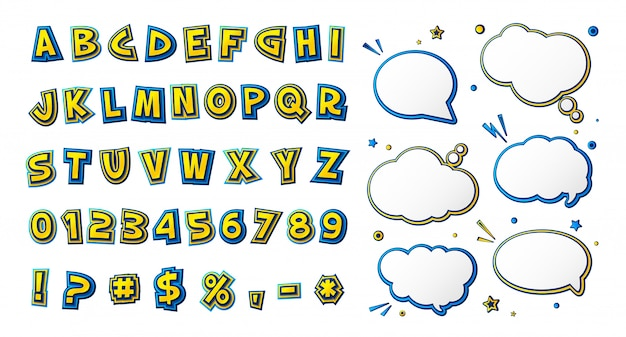 Czcionka komiksu, kreskówkowy żółto-niebieski alfabet i dymki