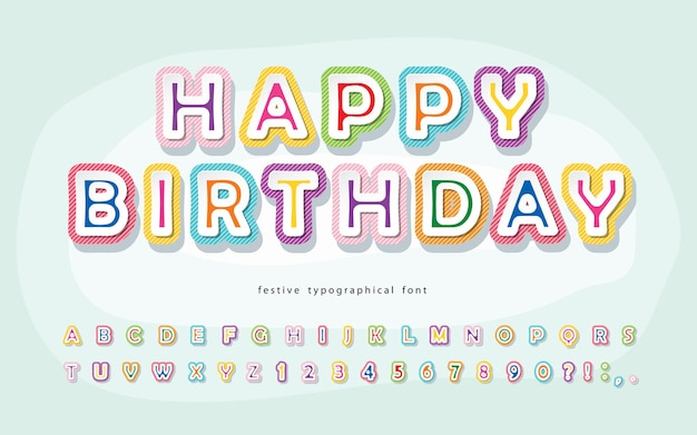 Czcionka kreskówkowa dla dzieci happy birthday