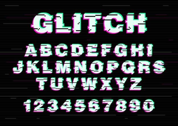 Czcionka łacińska lub alfabet angielski napisany czcionką creative. litery ułożone w kolejności alfabetycznej i cyfry z uszkodzonym efektem wideo, usterką elektroniczną, szumem cyfrowym