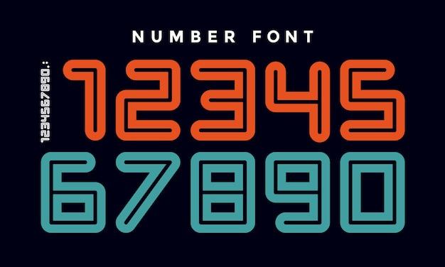 Czcionka liczb. czcionka sportowa z numerami i cyframi. geometryczne, regularne, bardzo pogrubione zaokrąglone numery konturowe