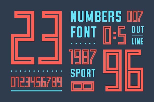Czcionka liczb. czcionka sportowa z numerami i cyframi