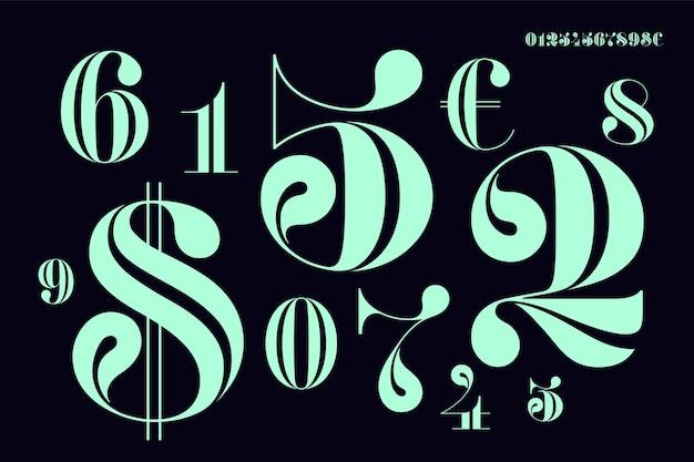 Czcionka liczb w klasycznym francuskim stylu didot lub didone ze współczesną geometrią. piękna elegancka cyfra. typograficzne vintage i retro.