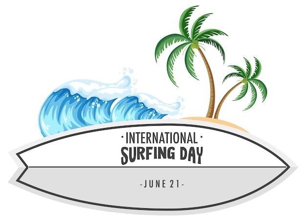 Czcionka międzynarodowego dnia surfingu na banerze deski surfingowej z elementem tropikalnej plaży