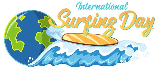 Czcionka międzynarodowego dnia surfingu z deską surfingową na fali na plaży na białym tle