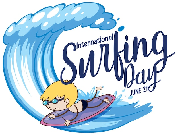 Czcionka międzynarodowego dnia surfingu z postacią z kreskówki chłopca surfingu