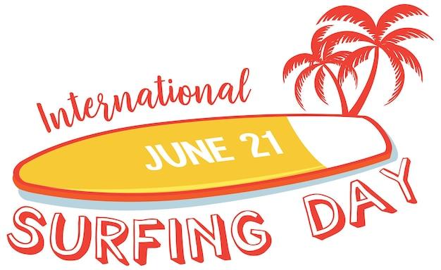 Czcionka międzynarodowego dnia surfingu z wyizolowanym banerem deski surfingowej