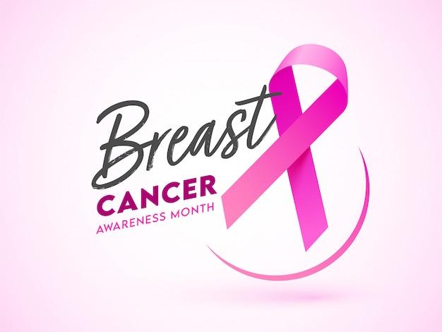 Czcionka miesiąca świadomości raka piersi z różową wstążką na błyszczącym tle. może służyć jako baner lub plakat.