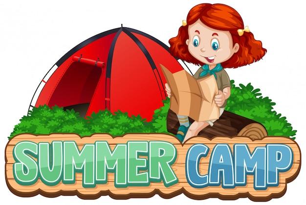 Czcionka na obóz letni z uroczym dzieckiem w parku