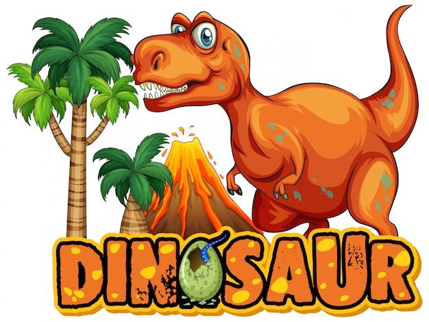 Czcionka na słowo dinozaur z przerażającym tyrannosaurus rex