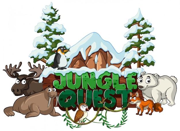 Czcionka na słowo dżungla z dzikimi zwierzętami