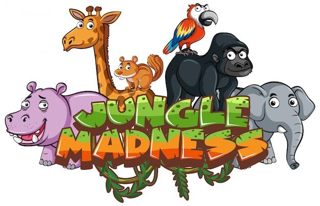 Czcionka na słowo szaleństwo dżungli ze zwierzętami