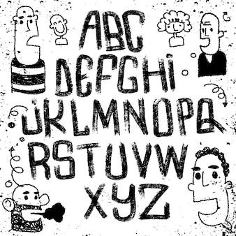 Czcionka napis na białym tle. alfabet tekstury.