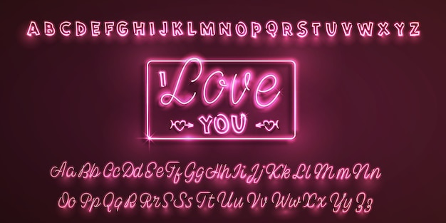 Czcionka neonowego łacińskiego kocham cię