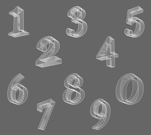 Czcionka numerów wektorów low poly (przewodowych). ustaw alfabet numer wielokąta. ilustracja wektorowa.