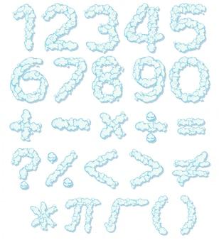 Czcionka numeru chmury i ikona matematyki