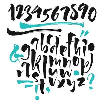Czcionka odręczna. czcionka brush. wielkie, numery, interpunkcja