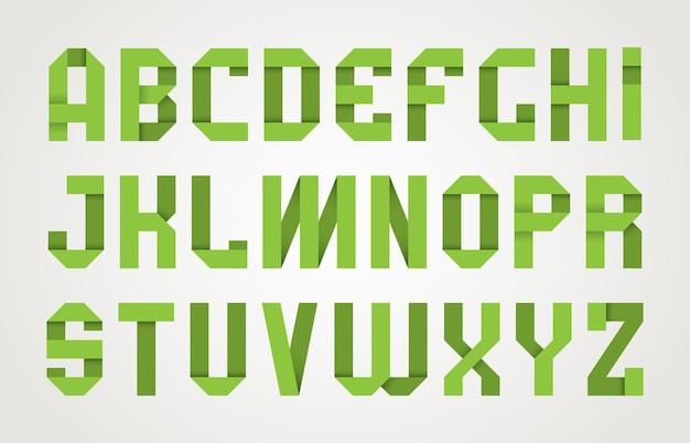 Czcionka origami. cień papieru nowoczesna czcionka moda kolekcja typu alfabet.