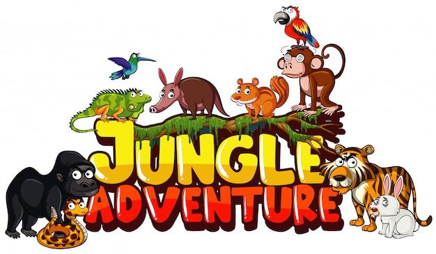 Czcionka przygody dżungli z wieloma dzikimi zwierzętami