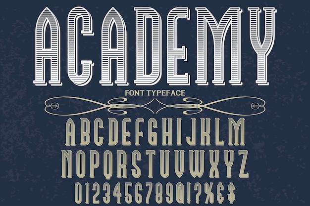Czcionka ręcznie projektowana akademia projektowania etykiet wektorowych