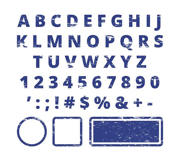 Czcionka stempla gumowego. czerwone litery i cyfry szablon typografii dla znaczka.