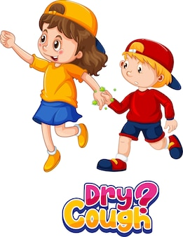 Czcionka suchego kaszlu w stylu kreskówki z dwójką dzieci nie zachowuje dystansu społecznego na białym tle