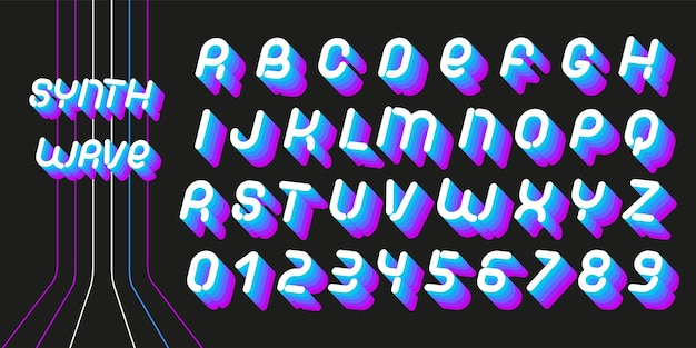 Czcionka synthwave. litery estetyki lat 70-80. wektor alfabet w stylu retro futuryzmu.
