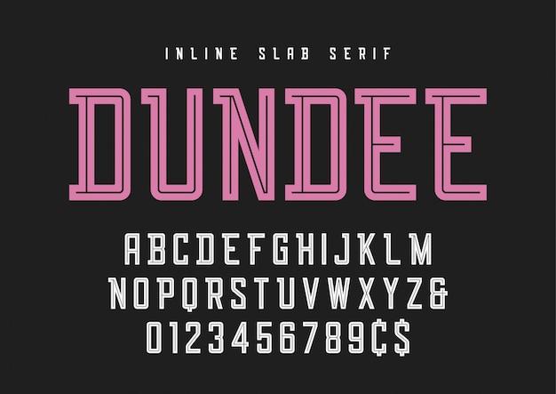 Czcionka szeryfowa inline płyty dundee, krój pisma, alfabet.