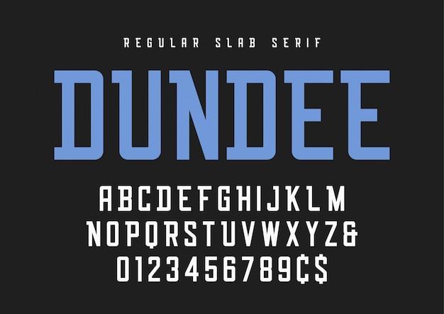 Czcionka szeryfowa zwykłej płyty dundee, krój pisma, alfabet.
