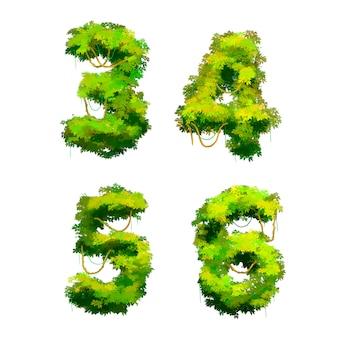 Czcionka tropikalnych winorośli i krzewów kreskówka, 3 4 5 6 glifów
