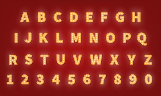 Czcionka typografii retro złota kasyna. alfabet żarówki