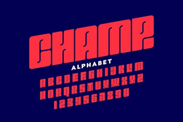 Czcionka w stylu sportowym, projekt typografii, litery alfabetu i cyfry