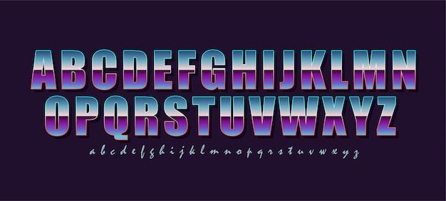 Czcionka w stylu vintage i retro. kolorowe litery i obrysy tworzą stylowy napis z lat 80-tych. główna i pomocnicza czcionka. alfabet.