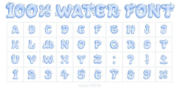 Czcionka wody z kreskówek. wektor zestaw liter, cyfr, znaków interpunkcyjnych i znak procentu. niebieskie znaki i cyfry płynnych kształtów. śmieszne ręcznie rysowane alfabetu angielskiego długopisem.