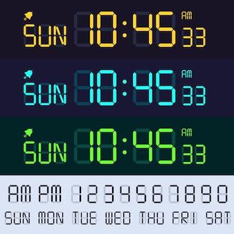 Czcionka wyświetlacza lcd budzika. numery zegarów elektronicznych, cyfrowe godziny i minuty na ekranie.