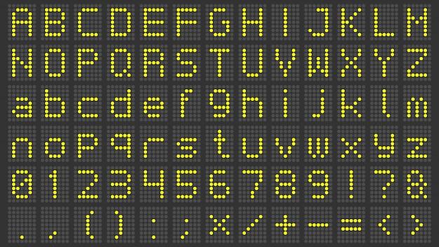 Czcionka wyświetlacza led. alfabet cyfrowej tablicy wyników, liczby znaków elektronicznych i litery ekranu lotniska elektrycznego ustawione