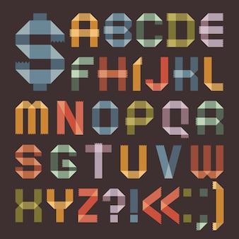 Czcionka z kolorowej taśmy klejącej - alfabet rzymski