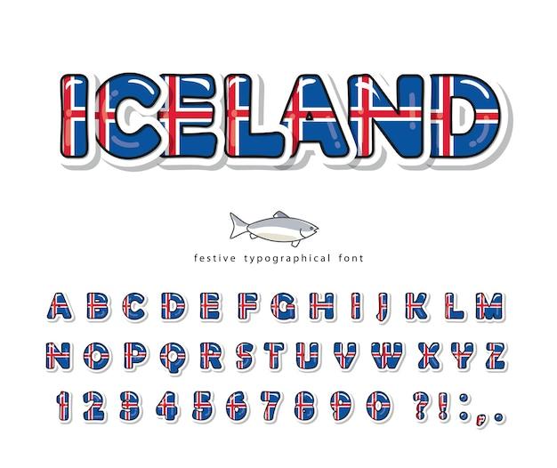Czcionka z kreskówek islandii. flaga narodowa islandii.