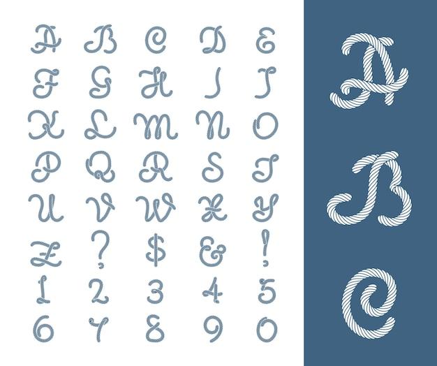 Czcionka z literami żeglarskimi z linami. rysunek sznura numerycznego.