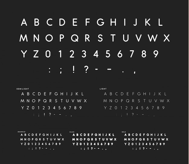 Czcionka z miękkimi narożnikami, liniowy alfabet bezszeryfowy