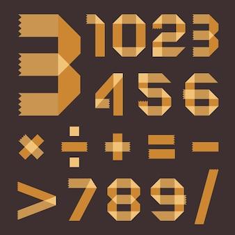 Czcionka z żółtawej taśmy klejącej - cyfry arabskie (0, 1, 2, 3, 4, 5, 6, 7, 8, 9).