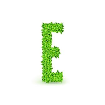Czcionka zielonych liści. wielka litera e składający się z zielonych liści, ilustracji wektorowych.
