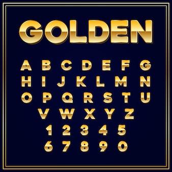 Czcionki alfabetyczne złota litera z cyframi