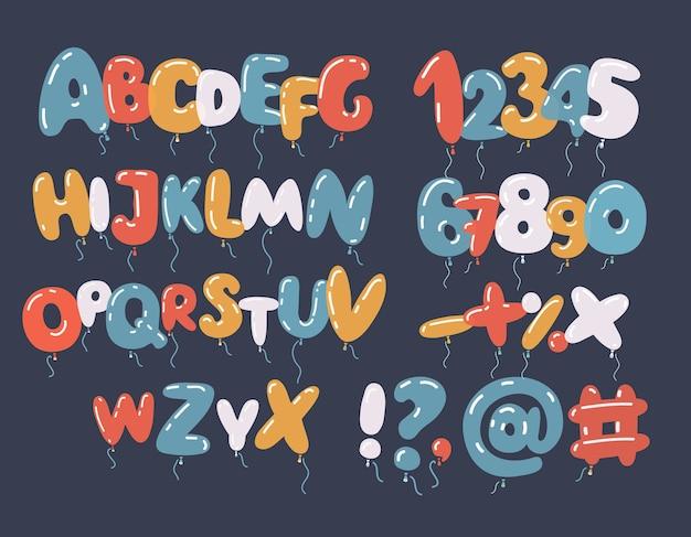 Czcionki i alfabetu kolorowy balon