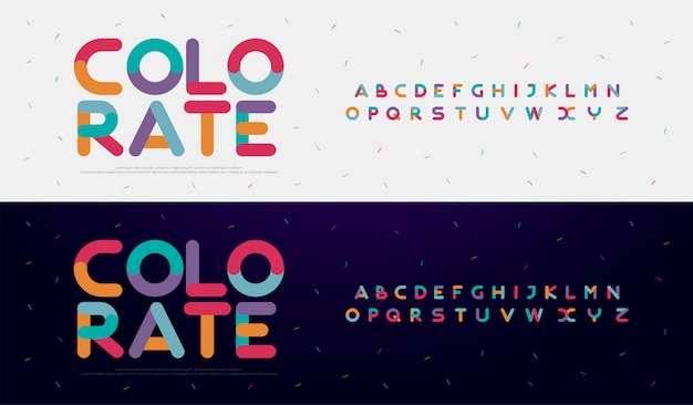 Czcionki kolorowe z nowoczesnym zaokrąglonym alfabetem