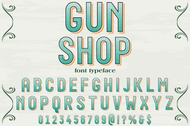 Czcionki sklep pistolet ręcznie projekt wektor etykiety