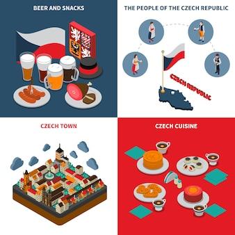 Czechy 4 izometryczne ikony kwadratowych